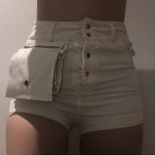 Lovely Casual Button Design White Shorts