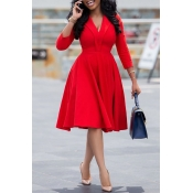 Lovely Sweet V Neck Red Knee Length Dress