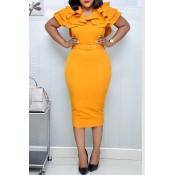Lovely Sweet V Neck Flounce Yellow Knee Length Dress