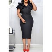 Lovely Sweet V Neck Flounce Black Knee Length Dress