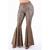 Lovely Casual Flared Print Coffee Pants