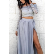 Lovely Chic Patchwork Baby Blue Two-piece Skirt Se