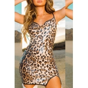 Lovely Chic Leopard Print Skinny Mini Dress