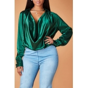 Lovely Chic Cross-over Design Green Blouse