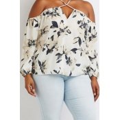 Lovely Casual V Neck Print White Plus Size Blouse