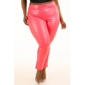 Lovely Sexy Skinny Watermelon Red  Plus Size Pants