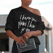 Lovely Chic Letter Print Black T-shirt
