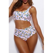 Lovely U Neck Print Two-piece Swimsuit