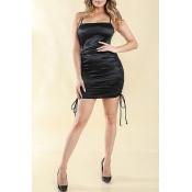 Lovely Party Fold Design Black Mini Dress