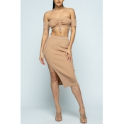 Lovely Chic Dew Shoulder Light Coffee Two-piece Sk