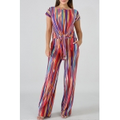 Lovely Leisure Striped Print Multicolor Two-piece