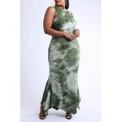 Lovely Bohemian Print Skinny Green Ankle Length Pl