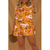 Lovely Bohemian Print Yellow Plus Size One-piece R