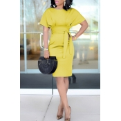 Lovely Chic Knot Design Yellow Knee Length Evening