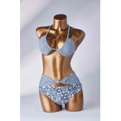 Lovely Knot Design Blue Two-piece Swimsuit