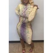 Lovely Trendy Print Multicolor Knee Length Dress