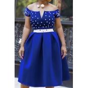 Lovely Chic Dot Print Royal Blue Knee Length Dress