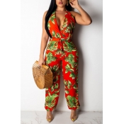 Lovely Bohemian Print Red One-piece Jumpsuit