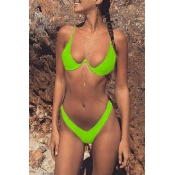 Lovely Basic Onion Green Two-piece Swimsuit
