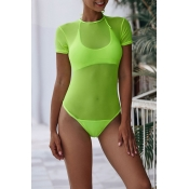 Lovely See-through Green One-piece Swimsuit