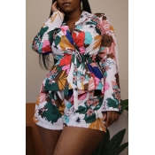 Lovely Casual Print Multicolor Two-piece Shorts Se