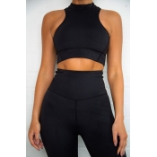Lovely Casual Crop Top Black Two-piece Pants Set