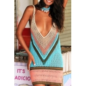 Lovely Hollow-out Multicolor Beach Dress