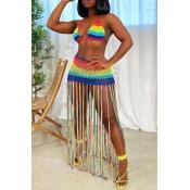 Lovely Tassel Design Multicolor Two-piece Swimsuit