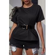Lovely Casual Basic Black T-shirt