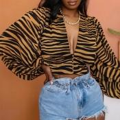 Lovely Chic V Neck Tiger Stripes Blouse