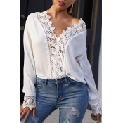 Lovely Leisure Patchwork White  Blouse