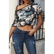 Lovely Casual  Camo Print Multicolor T-shirt