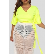 Lovely Casual Knot Design Green Plus Size Blouse
