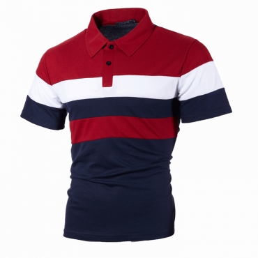 Lovely Casual Color-lump Red Polo Shirt