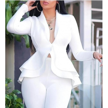 Lovely Sweet Flounce Design White Blazer