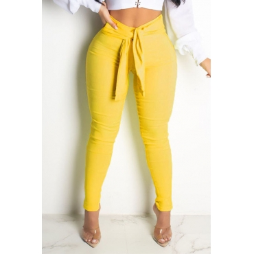 Lovely Chic Basic Knot Design Yellow Pants
