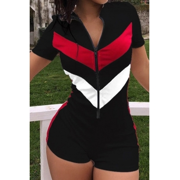 Lovely Casual Patchwork Black One-piece Romper