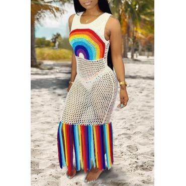 Lovely Patchwork Tassel White Beach Dress