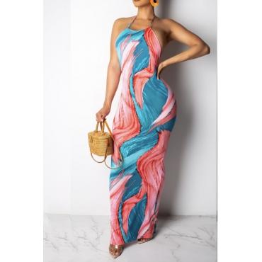 Lovely Bohemian Halter Print Blue Maxi Dress