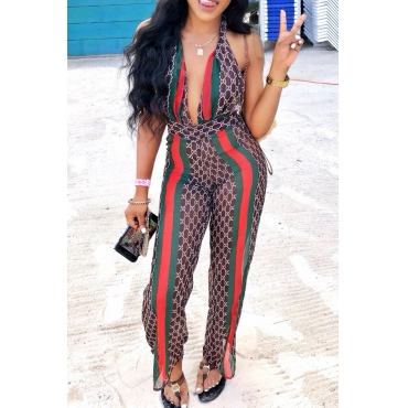 Lovely Sexy Print Brown One-piece Jumpsuit