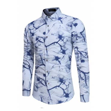Lovely Casual Print Blue Shirt