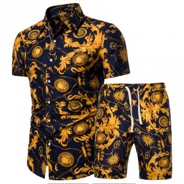 Lovely Bohemian V Neck Print Black Two-piece Shorts Set