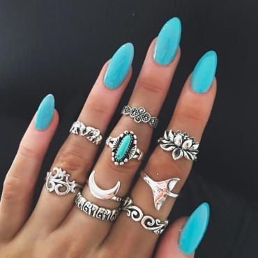 Lovely Chic 9-piece Silver Ring