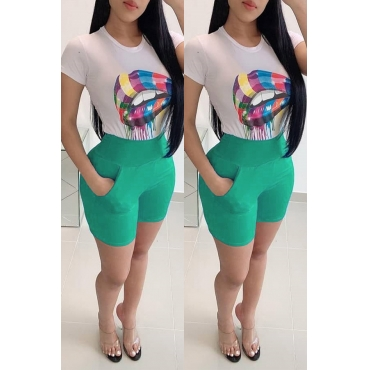 Lovely Casual Print Green Two-piece Shorts Set