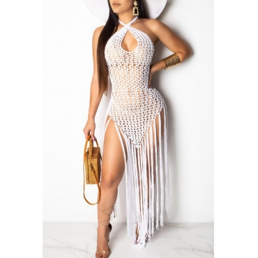 Lovely Chic Tassel Design White Beach Skirt Set