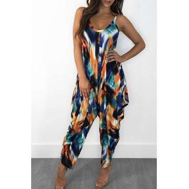 Lovely Casual Loose Print Multicolor One-piece Jumpsuit