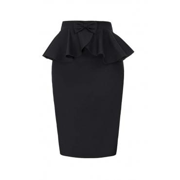 Lovely Casual Flounce Black Plus Size Skirt