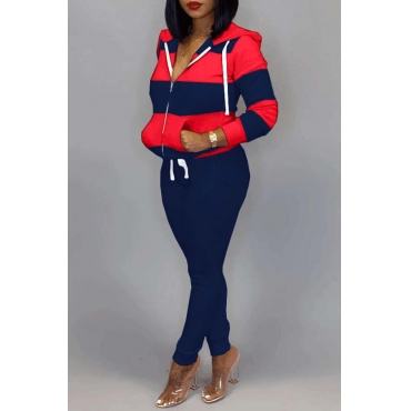 Lovely Casual Striped Red Two-piece Pants Set