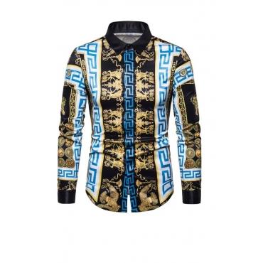 Lovely Bohemian Print Blue Shirt