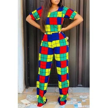 Lovely Chic Plaid Print Multicolor Two-piece Pants Set